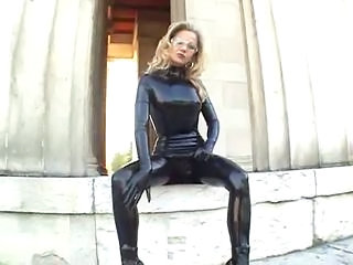 Latex Lady in public