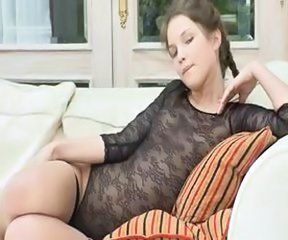 Petite 18yo girl teasing herself on sofa