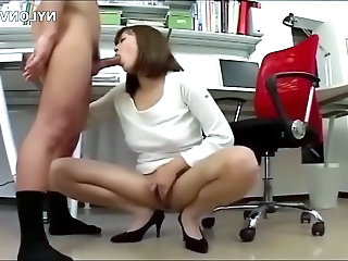 Horny business woman in office pantyhose office