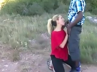 Blowjob Clothed Interracial Babe Outdoor Blonde Interracial Blowjob Babe
