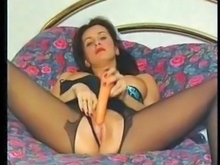 Great vid of Angie George masturbating with a dildo in a maid's uniform