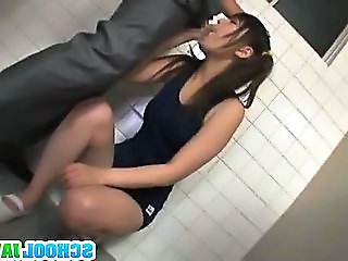 Teen Fucked In A Bathroom Stall By Two Horny Guys