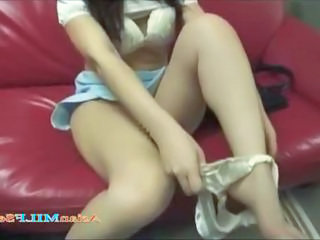 Asian Legs  Bus + Asian Fingering Masturbating Toy