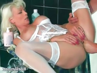 Gorgeous mature blonde gets pierced part1