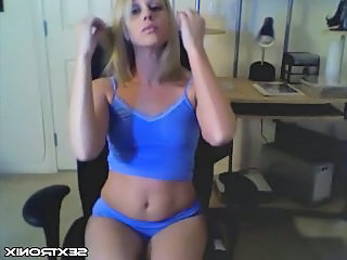 Cute Blonde Strips On Webcam