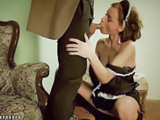 Beautiful french maid gives head and bends over tubes