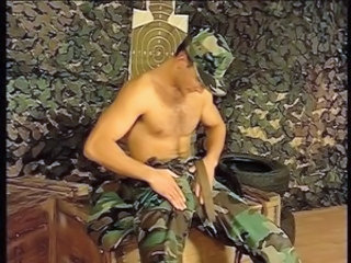 Horny soldier doing sexual things