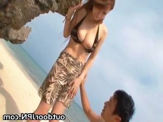 Outdoor Cute Beach Asian Babe Babe Outdoor Bus + Asian