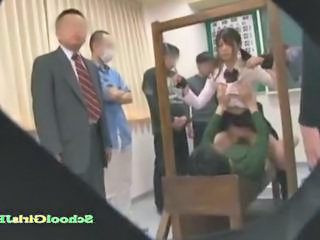 Schoolgirl Getting Her Arms Tied By Her Teacher Fucked By Guys In Front Of The Class In The Classroo