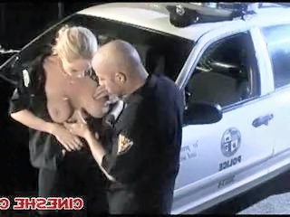 Both Police Woman and Man Having Sex On Car