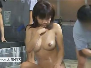 Horny milf client bathed at a strange Japan