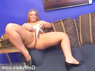 busty milf sticking a cock inside her hairy cunt