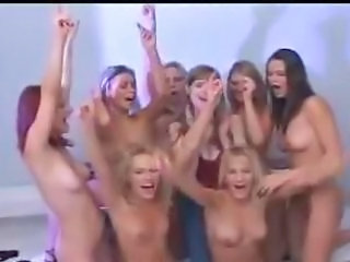 a all girl party with guys looking on
