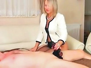 Stockings Handjob  Foot Footjob Handjob Mature