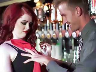Redhead slut banged in dramatize expunge bar