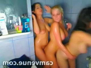 Steamy triple lesbo shower fun in college dorm on webcam
