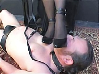 Videos from: nuvid | Blonde mistress has her slave on the ground and is caning him