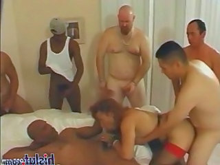 Six stiff dicks with one whore