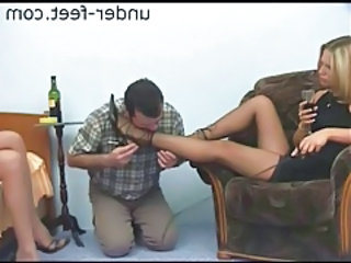 Feet in stockings turn on the submissive tubes