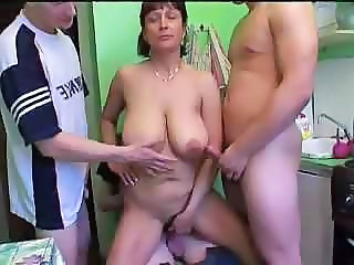 Mature Mom Takes Care Of 3 Boys