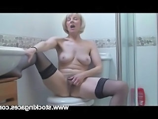Video from: tnaflix | Sexy mature Hazel masturbating in bathroom Thx to stockingaces.com