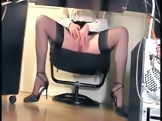 Secretary Masturbating Office Fingering Nylon Stockings