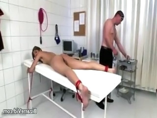 Dirty brunette bitch comes to the doctor part1