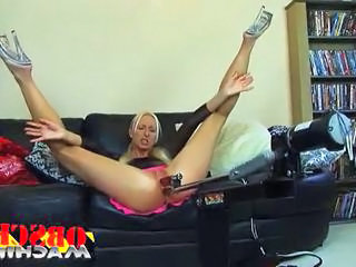 Flexible blonde milf gets double penetrated by her sex machi...