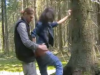 Russian sex couples in the woods