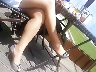 Milf's sexy nylonned legs and high heels