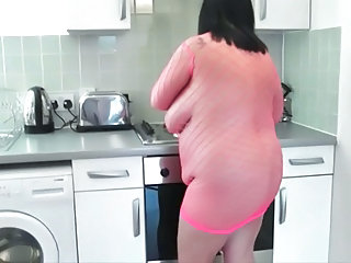 Kitchen Fishnet  Bbw Mature Fishnet Kitchen Mature