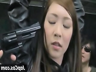 Hottie Asian slave master gets the tables turned as her weapon gets taken