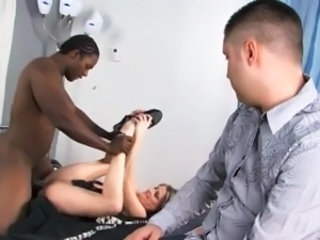 White guy watches as his wife gets her pussy fucked & face creamed by...