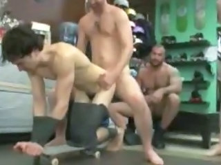 Cute tied up guy gets gangbang fucked