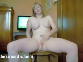 Mature french blonde masturbates
