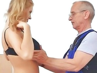 Hot Blond fucks with old Man (German)