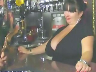 chubby british older  barmaid with giant tits