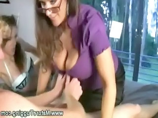mum shows her daughter how to tug dick