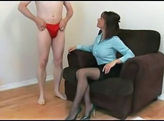 Mature milf does a handjob and an interview