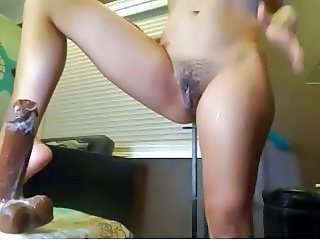 hot brunette fucking dildo