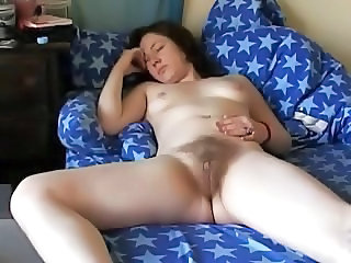 Teen Brunettes Rubs Her Hairy Muff