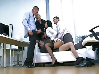 Gangbang Double Penetration Office Stockings