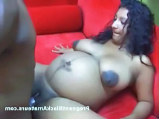 Pregnant Black Babe Gets Her Tight Pussy Fucked On The Couch