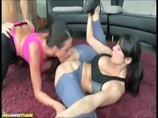 Two cfnm fitness babes in threesome free