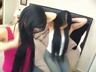 Sister Twins Long Hair Sister  Teen Threesome
