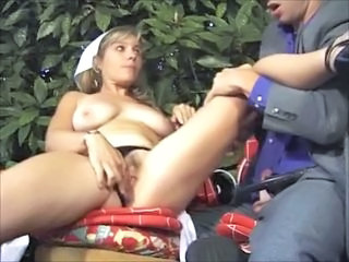 French mature fucking hard in the garden