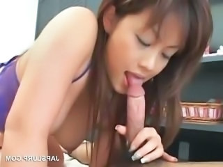 Asian nasty bitch eating hungry dick in close-up