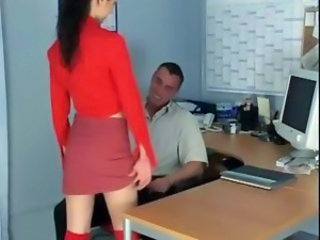 Petite secretary fucking in knee high stockings