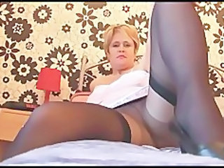 busty cougar lady in stockings nylons and slither