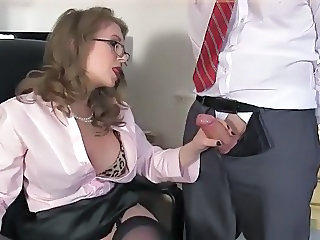 Secretary Glasses Office Handjob Cock Milf Ass Milf Office
